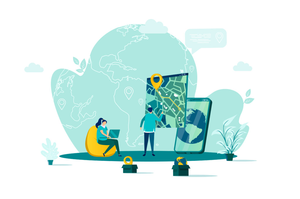 GPS navigation concept in flat style. Man uses GPS navigator scene. Navigate mapping technology, cartography and geolocation system banner. Vector illustration with people characters in work situation